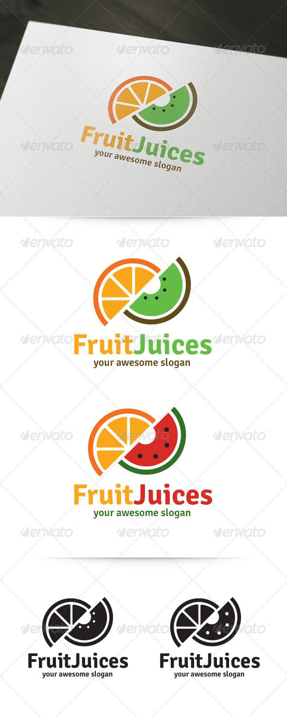 Fruit Juices Logo Template which can be used for your business! A fully editable vector logo template (.AI and .EPS files). A free Photoshop PSD is included with all logo variations. Click on the image to buy and download! #logo #vector #design #inspiration #brand #template #company #fruit #juice #juices #slices #orange #kiwi #melon #healthy #graphicriver #envato #buy #sale