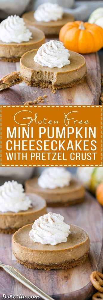 These Mini Pumpkin Cheesecakes have a crunchy, salty pretzel crust that pairs irresistibly well with the spiced pumpkin cheesecake filling! Topped with a swirl of whipped cream, this is a gluten-free dessert everyone will go nuts for - it's perfect for the holidays.