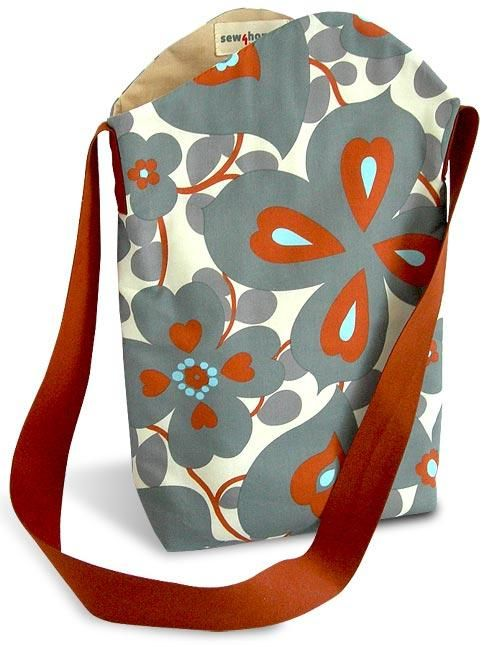 An easy to sew DIY shoulder bag from Sew4Home- make bigger for a knitting project bag