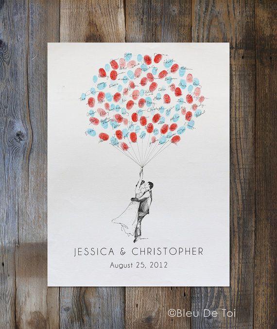 Wedding Guest Book Alternative, Custom Couple Drawing, Thumbprint Balloon, like Fingerprint tree, Whimsical Wedding Decor,Bridal Shower Gift