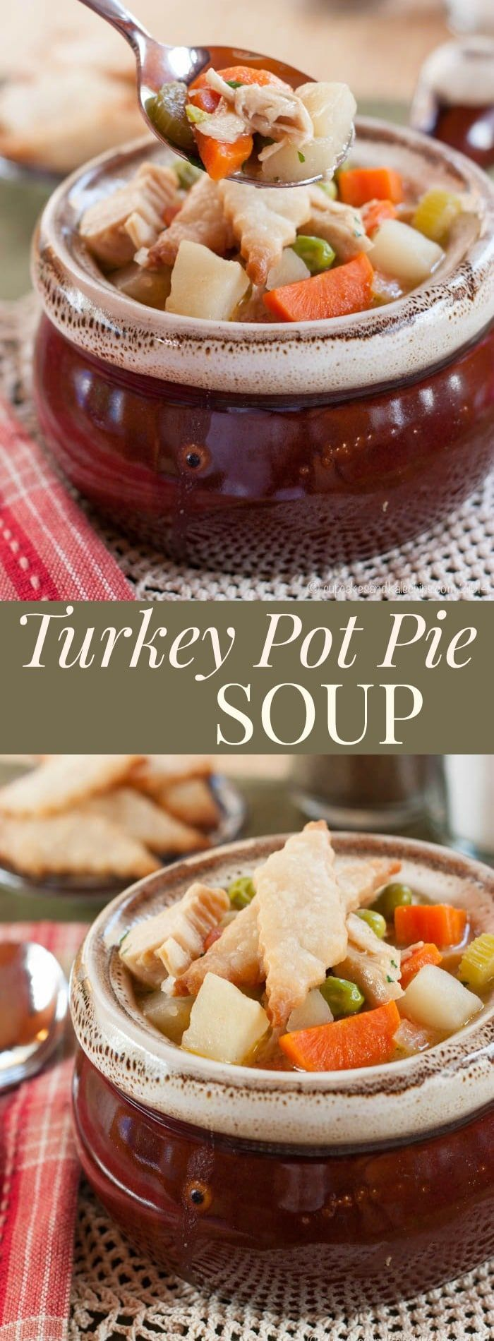 Turkey Pot Pie Soup - an easy recipe to use up Thanksgiving leftovers.