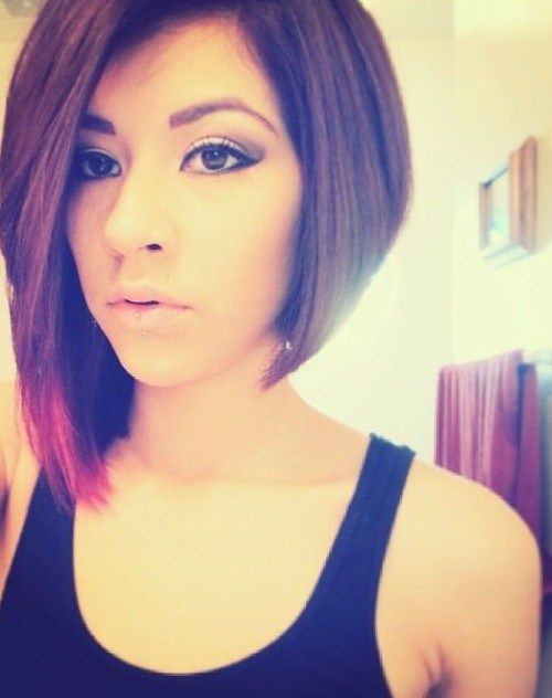 21 Adorable Asymmetrical Bob Hairstyles for 2016: #1. Asymmetrical bob for thick hair with side part and pink tip