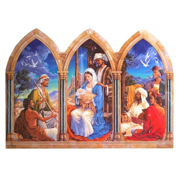 Large Triptych Manger Scene Standing Religious Advent
