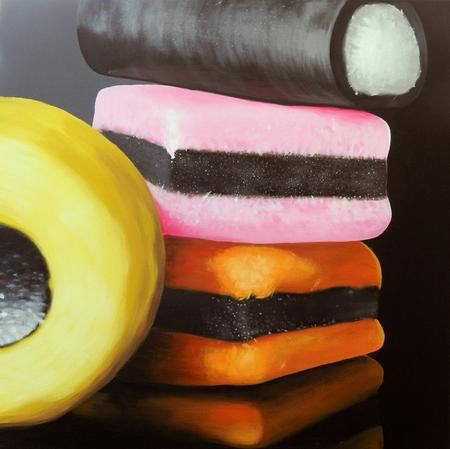 Collections of sweets - zoom in for a close up section? 'Liquorice Allsorts', Peter Slade.