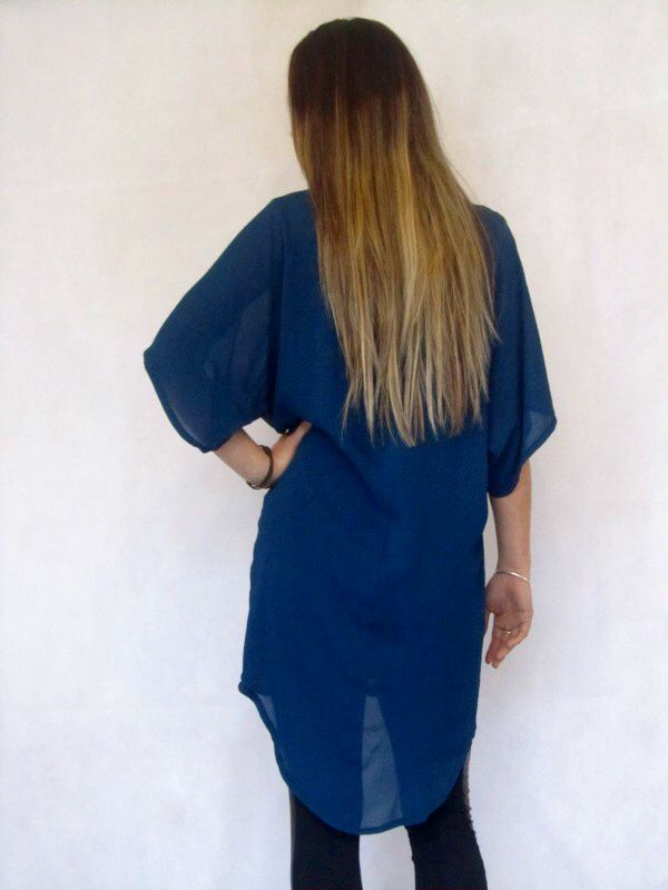 Master Tunic - Blue/Blue  A must have tunic, over sized t-shirt dress, hemline lower at the back.  Made in New Zealand