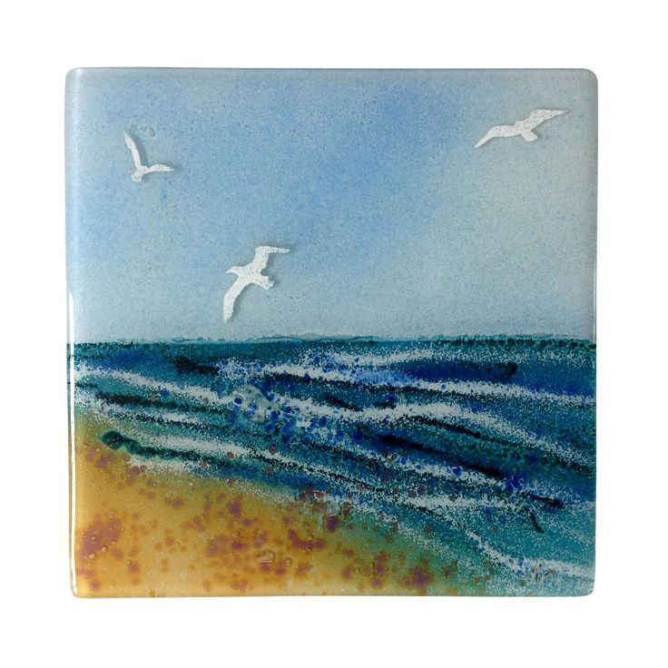 BIRDS BY THE BEACH FUSED GLASS WALL PANEL