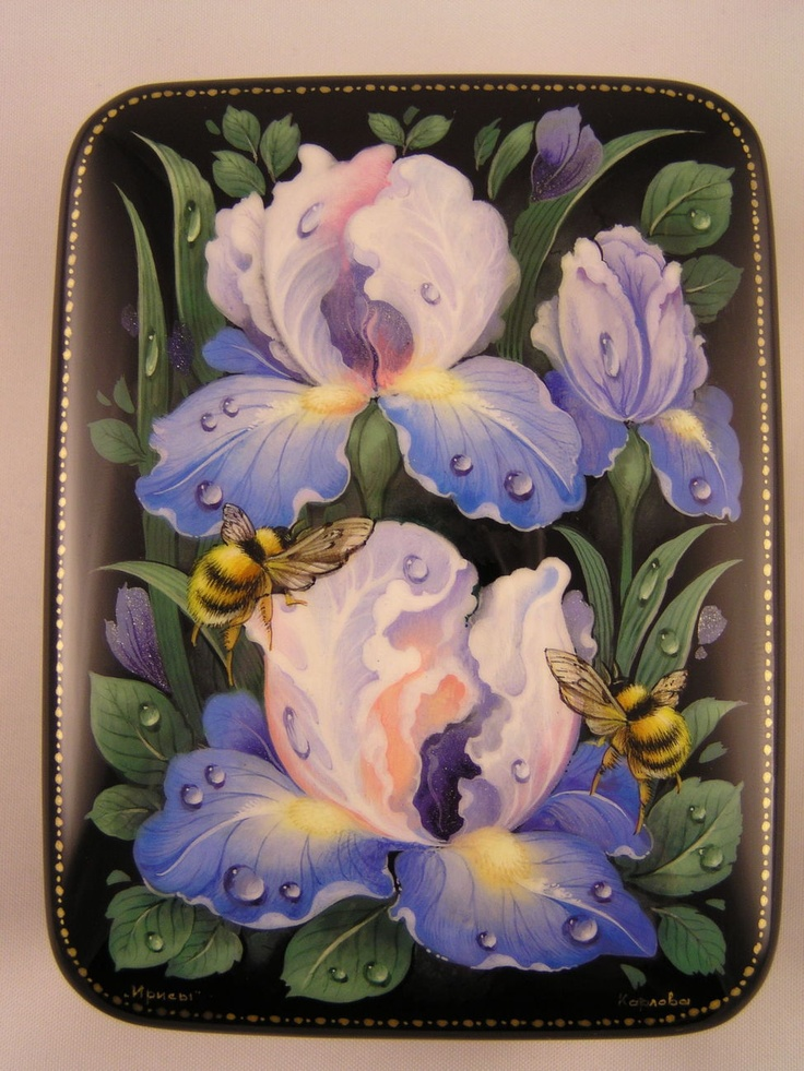 "Russian Lacquer box ""Irises"" Hand Painted Fedoskino New AMAZING!!!"