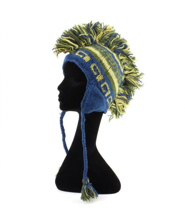 LOUDelephant 'Punk' wool knit Mohawk hat - Blue & green