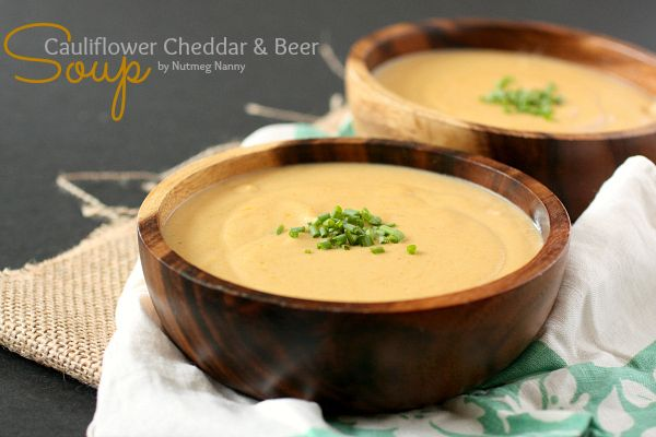 This super creamy cauliflower cheddar beer soup is packed full of ...