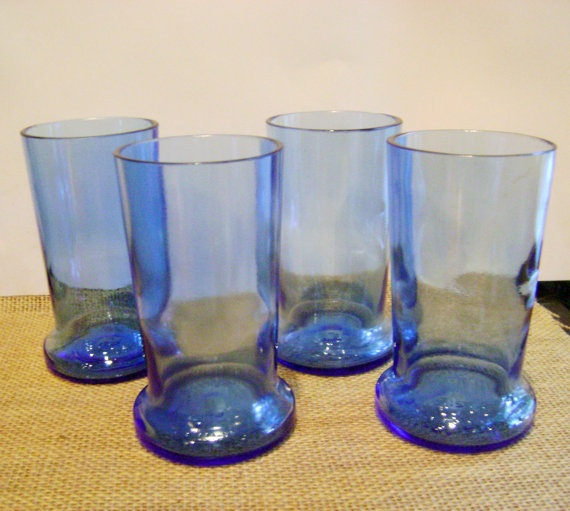 New Item! Sky Blue Tumblers made from Reclaimed Pinnacle Whipped Vodka bottles. Perfect soda fountain glasses. Earth friendly. $25.00
