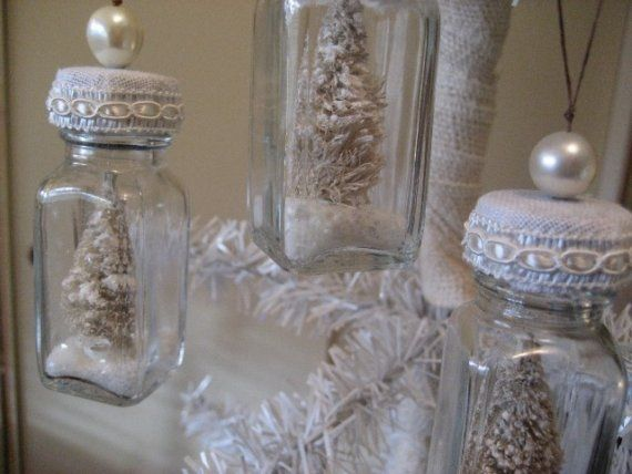 Shabby Chic Bottle Ornaments Set of Four by Therobinandsparrow