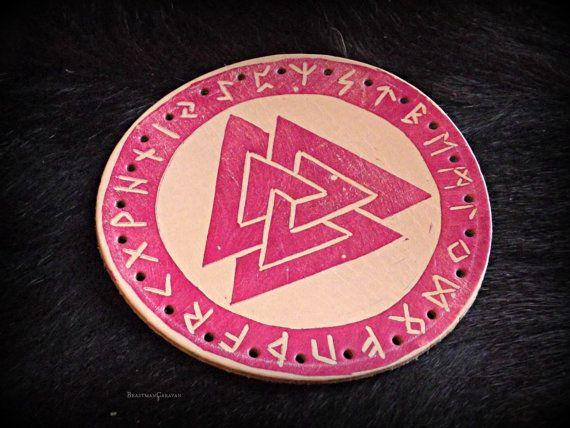 Leather Valknut Patch - Hand Stamped Elder Futhark and Valknut Design
