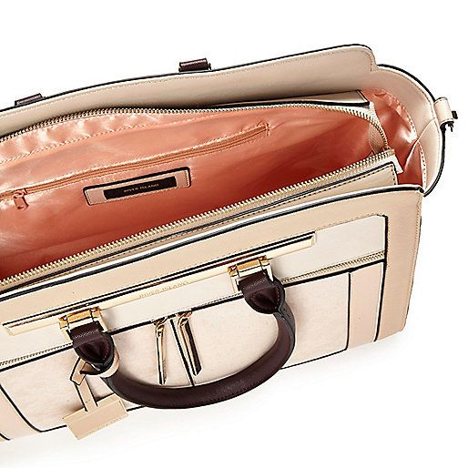 Nude structured tote handbag