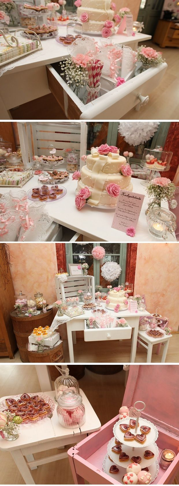 Love the shabby chic tables & stands.  Load them with homemade pies & cookies & other sweets from family, plus the wedding cake.
