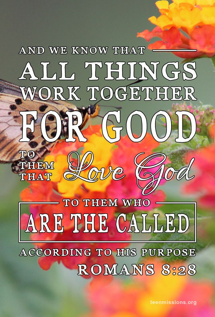 """""""And we know that all things work together for good to them that love God, to them who are the called according to his purpose."""" ~ Romans 8:28 KJV"""
