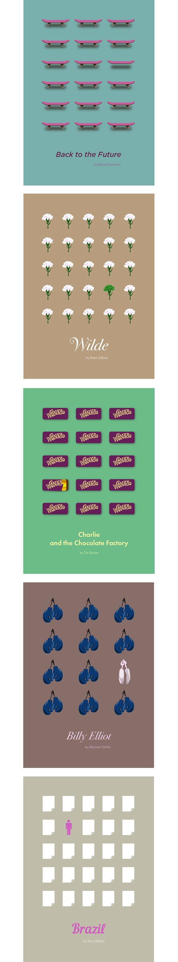 """Series of minimal movie posters, project for British Higher School of Art and DesignМинималистичные постеры к фильмам """"Назад в будущее"""", """"Уайльд"""", """"Чарли и шоколадная фабрика"""", """"Билли Эллиот"""" и """"Бразилия""""."""