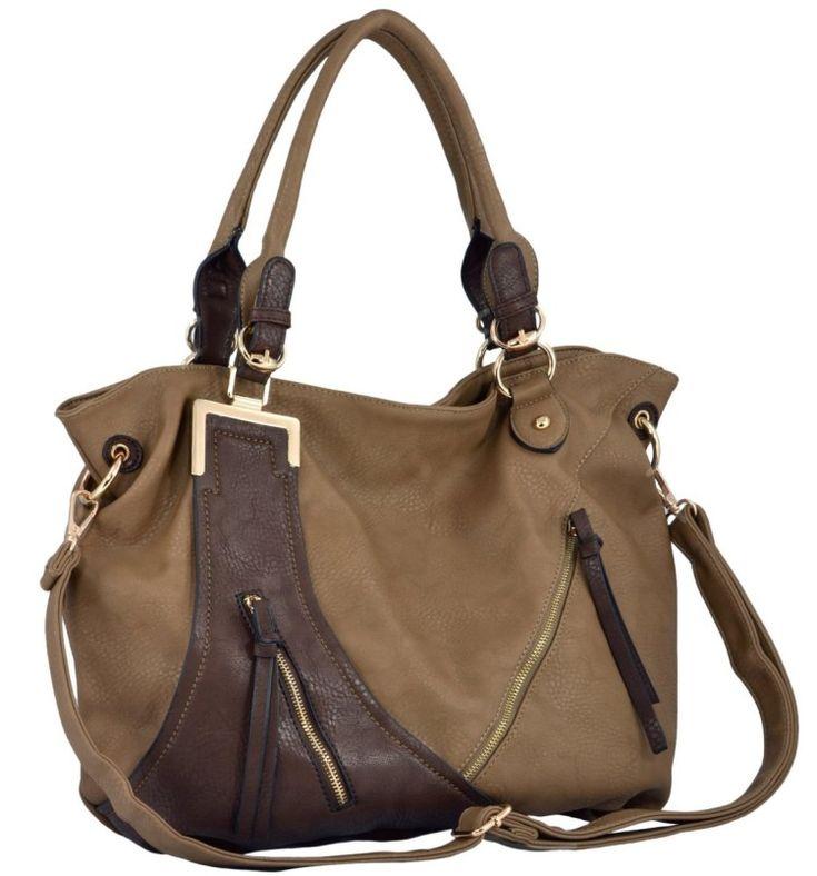 MG Collection GWEN Chic Dual-Tone Shopper Slouchy Hobo Shoulder Bag