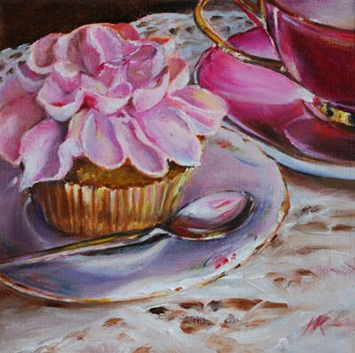 roze cupcake met roze kop en schotel, maat 14 x 14 cm olieverf op paneel