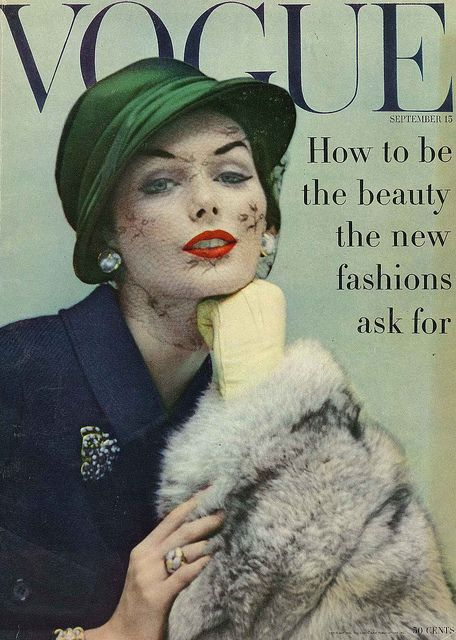 Lucinda Hollingsworth, Vogue cover September 1956 Photo Karen Radkai.