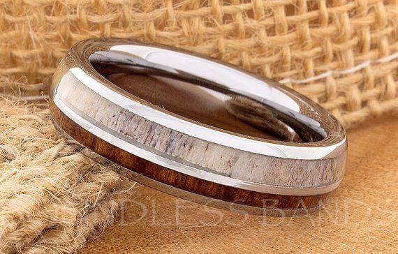 Tungsten Ring Tungsten Wedding Ring Mens Women/'s Wedding Band Red Wood Deer Antler Ring Promise Anniversary Ring Dome 6mm Matching Ring Set