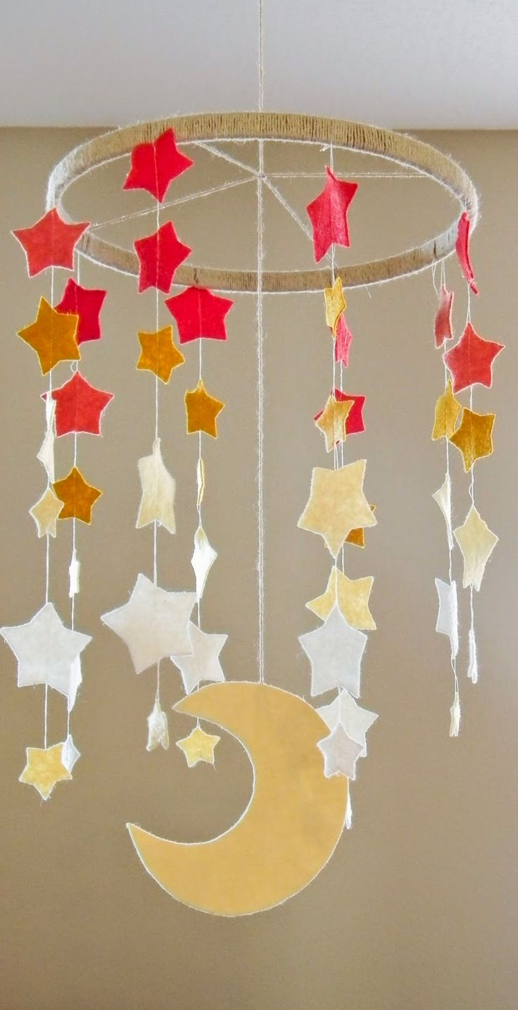 Stars and Moon Baby Mobile // Bright Apple Blossom // DIY, nursery decor, baby gifts, wool felt, easy crafts