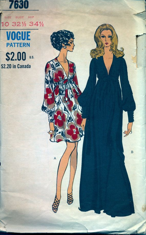 Vintage 1970's Women's Dress Pattern, Vogue 7630 Sewing Pattern, Size 10