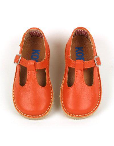 Oranje lederen Koosje meisjesschoenen - Koel for Kids