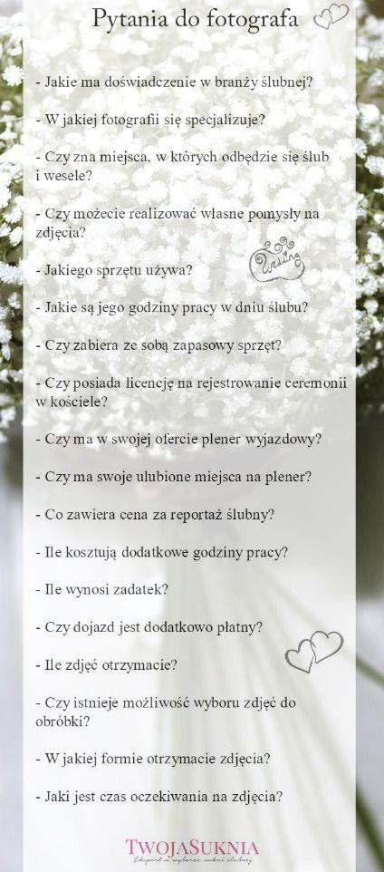 Pytania do fotografa - przydatna bezpłatna lista do pobrania  Ślub Wesele Organizacja