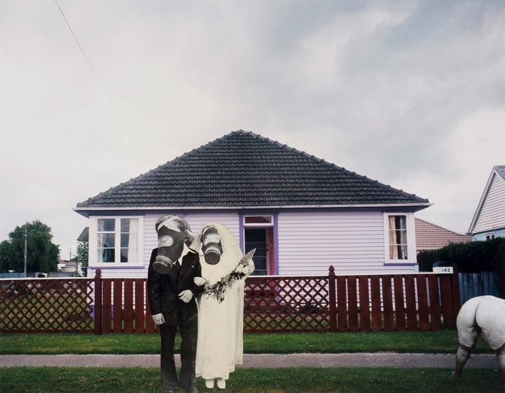"""Ava Seymour - """"Gas Mask Wedding"""" - Photocollage from """"Health, Happiness and Housing"""", 1997, New Zealand"""