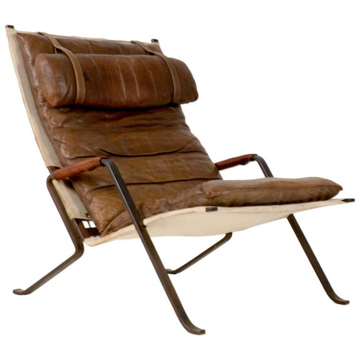 Good Preben Fabricius; Steel, Canvas, Rope And Leather U0027Grasshopperu0027 Lounge Chair  For
