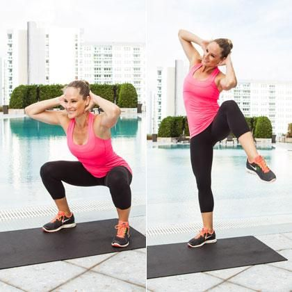 Sumo Squat to Side Crunch: Sculpt your legs, butt, and hips while slimming your waist with this double-duty move.