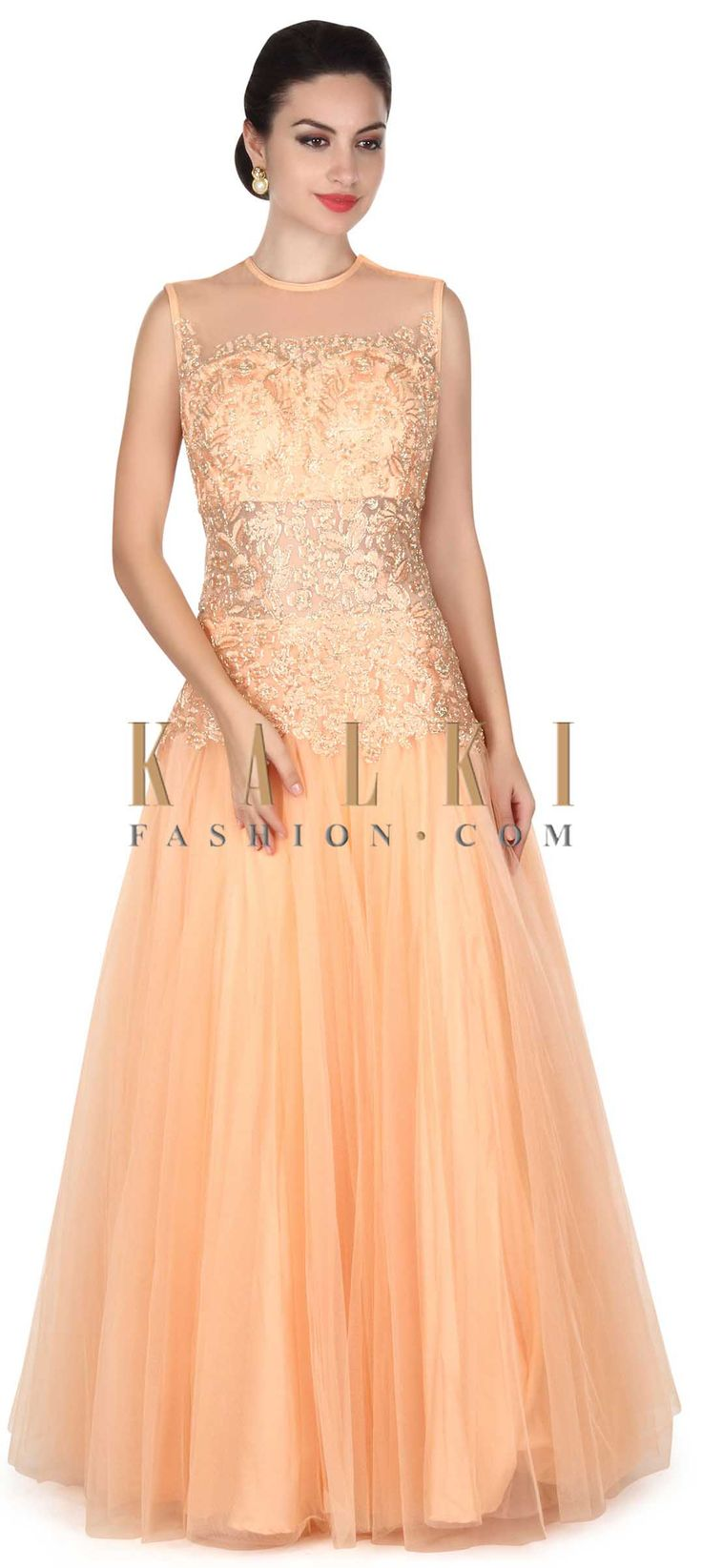 Buy this Peach gown adorn in resham and zari embroidery only on Kalki