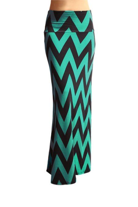"Amazon.com: Azules Women'S Ponte Roma 1-1/4"" Chevron Stripe Maxi Skirt - Chevron: Clothing"