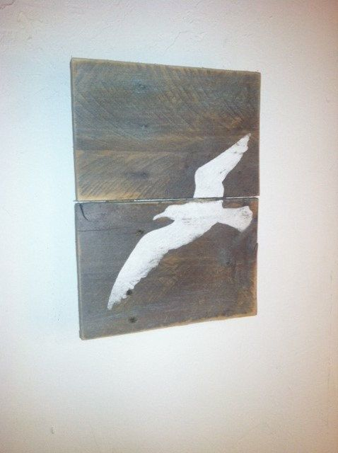 Sea Gull Wall Art - Ocean Decor Hand Painted, Rustic Weathered Sign, Beach House…
