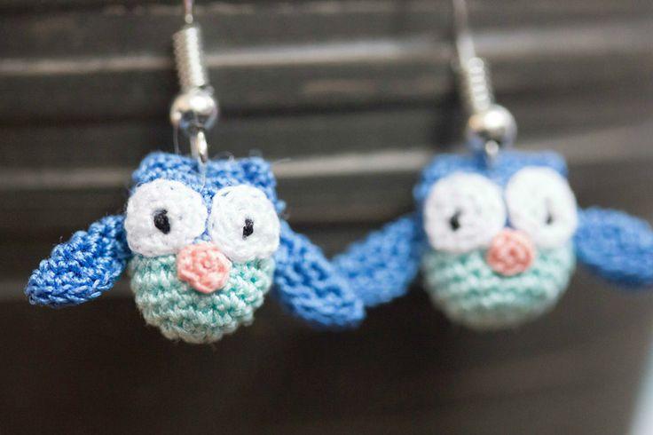 "Ohrringe ""Eule"" - blau von HuhuuShop auf DaWanda.com"