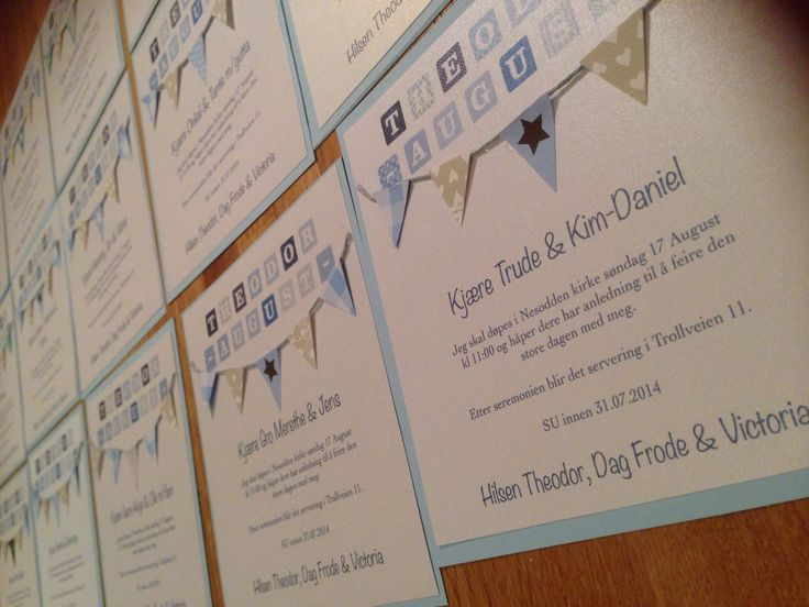 So this is the invitations I made for my Theodore's baptism. Bunting invitations, DIY style!