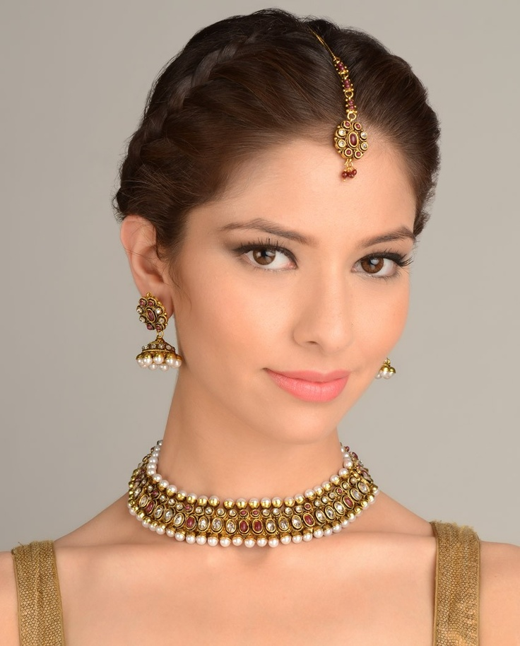 Stone Studded Necklace Set with Maang Tika