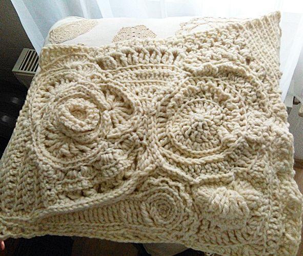 freeform crochet pillow Készülő freeform párnám