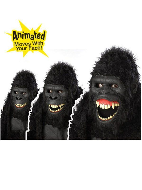 Animated Animal Gorilla Mask Adult Men/'S Costume Accessory Halloween Party