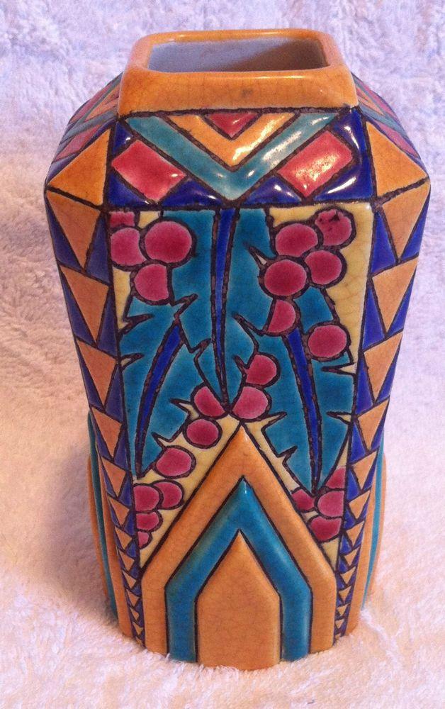Antique LONGWY Enameled Majolica Art Pottery French Signed Matisse Inspired Vase