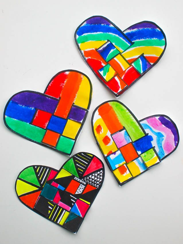 Printable Rainbow Danish Hearts Craft- Color, cut out, and weave these lovely rainbow danish hearts