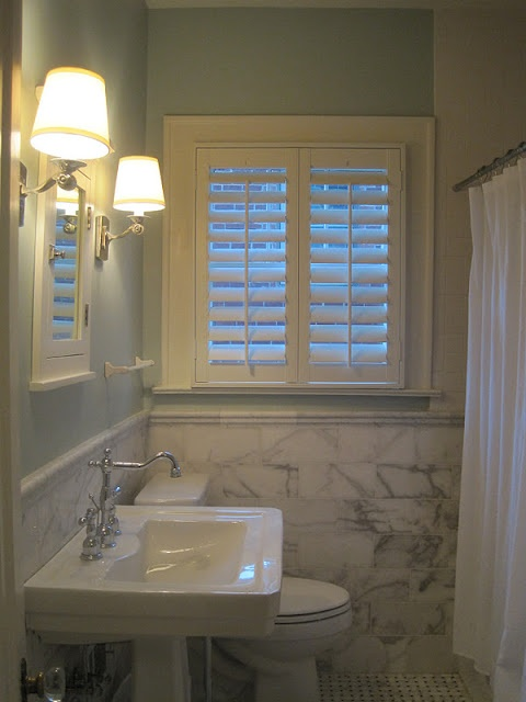 125 best images about bathroom window treatment ideas on - Plantation shutters for bathroom ...