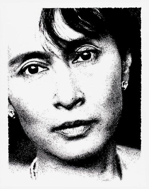 """""""Aung San Suu Kyi"""" 03.2011 China su carta 220 gr. - dim. 43x54 cm Presente alla collettiva PEOPLE - Palermo (circolo Ufficiali, piazza Sant'Oliva n°25) #art #portrait #humanrights"""