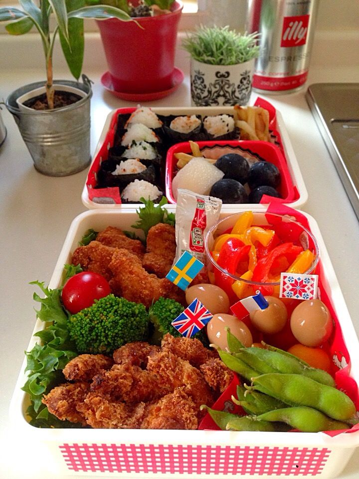いくえ's dish photo 幼稚園運動会のお弁当 | http://snapdish.co #SnapDish #お弁当 #運動会 #揚げ物 #野菜料理 #パーティー
