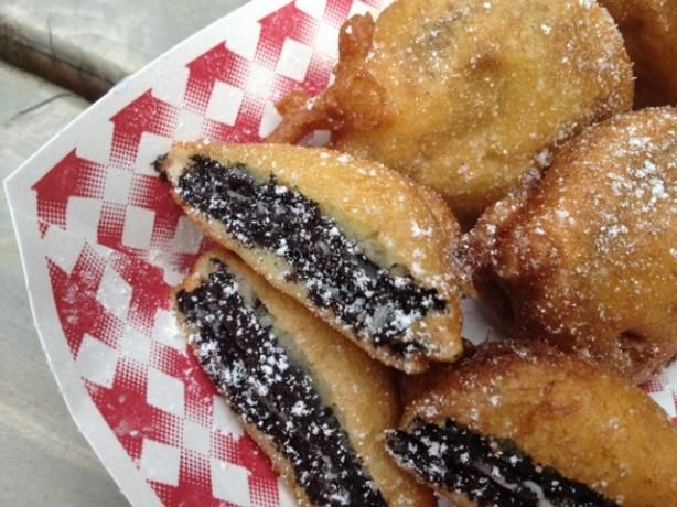 Deep Fried Oreos from Food.com:   								I had these at a local county fair and just had to try to make them. They are delicious.You can substitute your favorite dry pancake mix for the Bisquick. They are best when eaten warm. If you are want to try a lighter version, use lowfat milk, canola oil, and reduced fat Oreos.