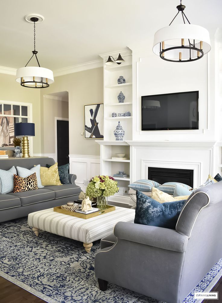 Fall Home Tour Featuring This Elegant Living Room With Sophisticated Navy And Gold Accents Drum Elegant Living Room Elegant Living Room Decor Living Room Grey