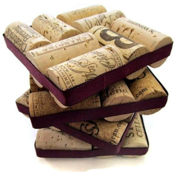 Wine Cork Coasters With Plum Ribbon Set of por LizzieJoeDesigns