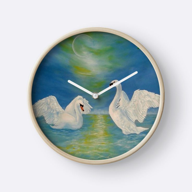 Wall Clock, artistic,decorative,items,fantasy,swans,blue,modern,beautiful,awesome,cool,home,office,wall,decor,decoration,ideas,for sale,redbubble