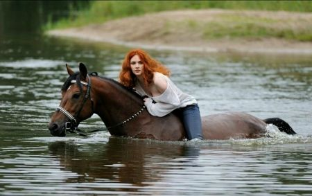 'Down to the River' - Horse-Riding, Equine, River, Horse, Redhead, Woman, Animal, Curly Redhead