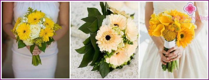 Κίτρινο νυφική ανθοδέσμη - συμβουλές για την επιλογή από το τι χρώματα συνθέτουν φωτογραφία
